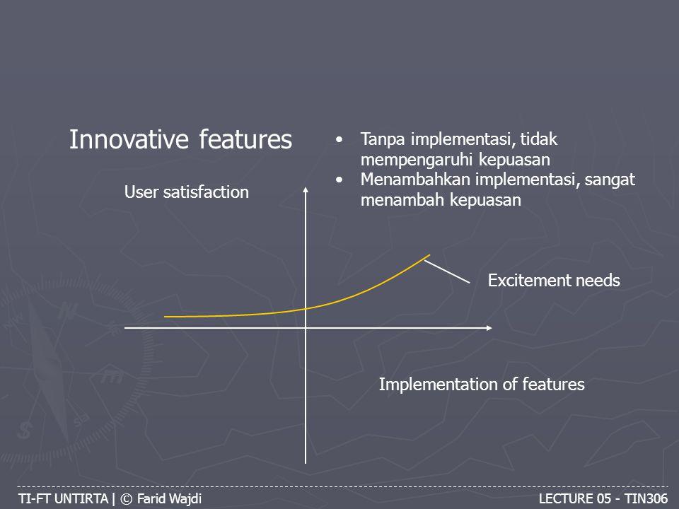 TI-FT UNTIRTA | © Farid Wajdi LECTURE 05 - TIN306 Innovative features Implementation of features User satisfaction Tanpa implementasi, tidak mempengaruhi kepuasan Menambahkan implementasi, sangat menambah kepuasan Excitement needs