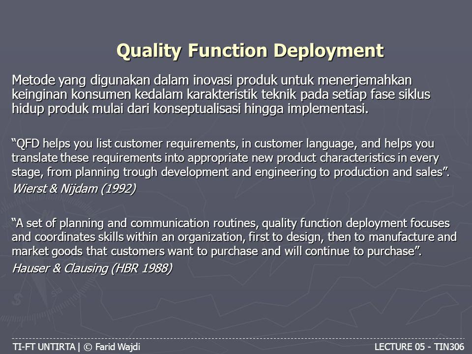 Quality Function Deployment TI-FT UNTIRTA | © Farid Wajdi LECTURE 05 - TIN306 Metode yang digunakan dalam inovasi produk untuk menerjemahkan keinginan konsumen kedalam karakteristik teknik pada setiap fase siklus hidup produk mulai dari konseptualisasi hingga implementasi.