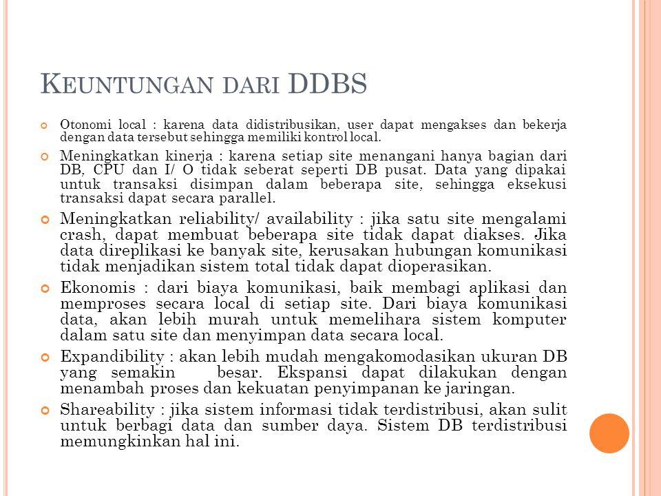 K EUNTUNGAN DARI DDBS Otonomi local : karena data didistribusikan, user dapat mengakses dan bekerja dengan data tersebut sehingga memiliki kontrol local.