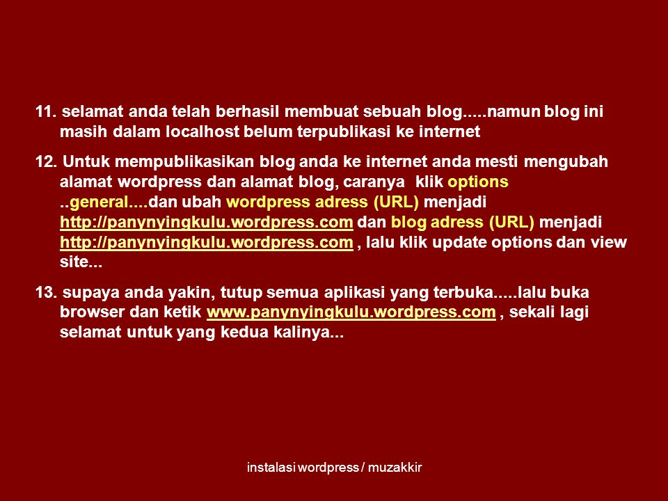 instalasi wordpress / muzakkir 11.