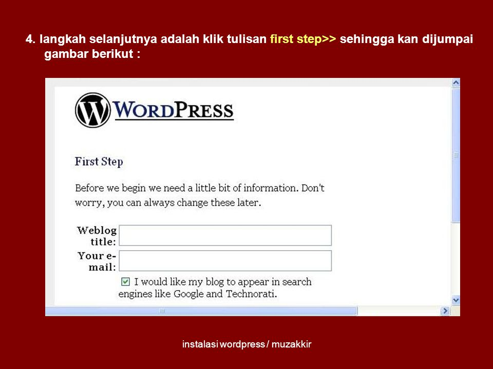 instalasi wordpress / muzakkir 4.