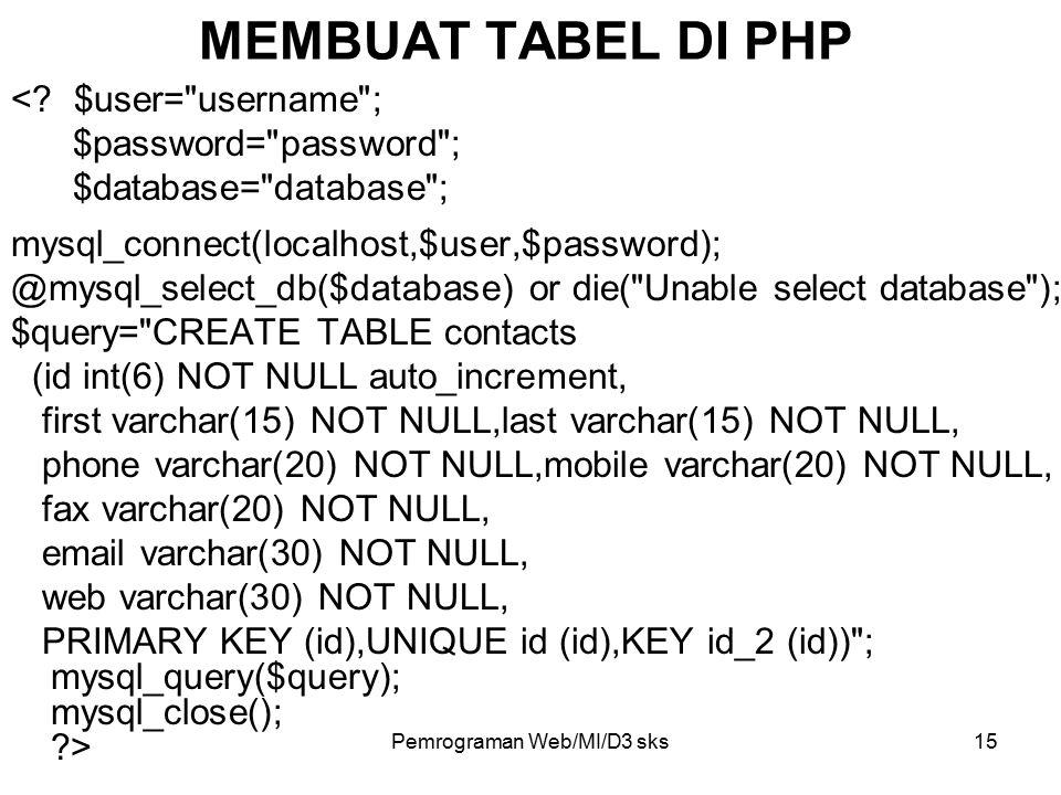 Pemrograman Web/MI/D3 sks15 MEMBUAT TABEL DI PHP <? $user=