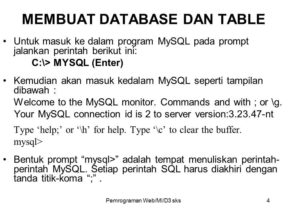 Pemrograman Web/MI/D3 sks5 Cara untuk membuat sebuah database baru adalah dengan perintah: create database namadatabase; Contoh: create database privatdb; Untuk membuka sebuah database dapat menggunakan perintah berikut ini: use namadatabase; Contoh: use privatdb; Perintah untuk membuat tabel baru adalah: create table namatabel ( struktur ); MEMBUAT DATABASE DAN TABLE
