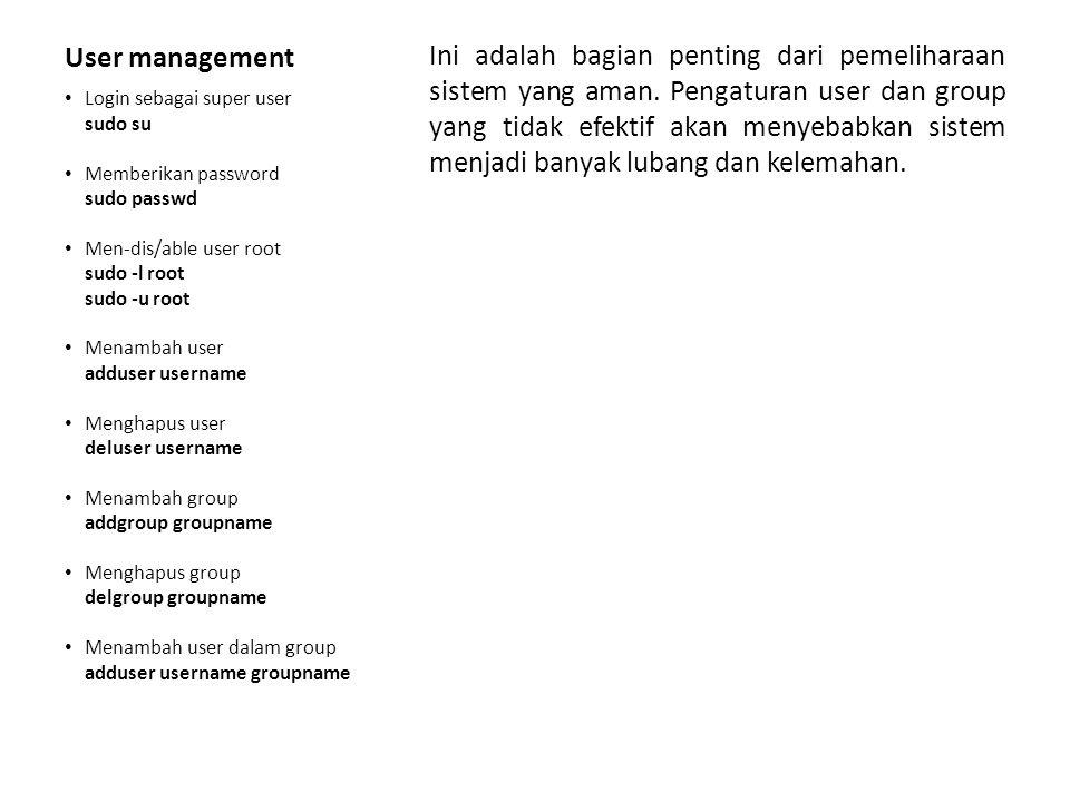 File, Folder & Permission Hal dasar dari penyetingan adalah pembuatan file, folder serta pengaturan permissionnya.