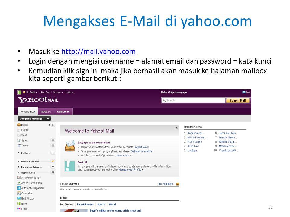 Mengakses E-Mail di yahoo.com Masuk ke http://mail.yahoo.comhttp://mail.yahoo.com Login dengan mengisi username = alamat email dan password = kata kunci Kemudian klik sign in maka jika berhasil akan masuk ke halaman mailbox kita seperti gambar berikut : 11