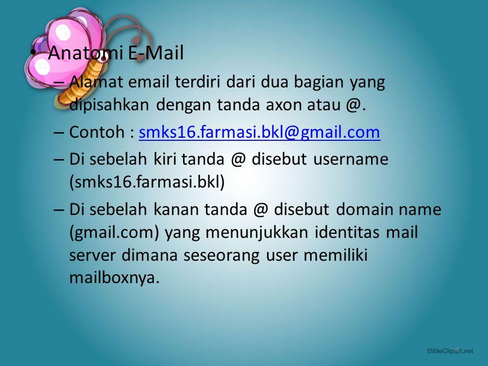 Anatomi E-Mail – Alamat email terdiri dari dua bagian yang dipisahkan dengan tanda axon atau @. – Contoh : smks16.farmasi.bkl@gmail.comsmks16.farmasi.