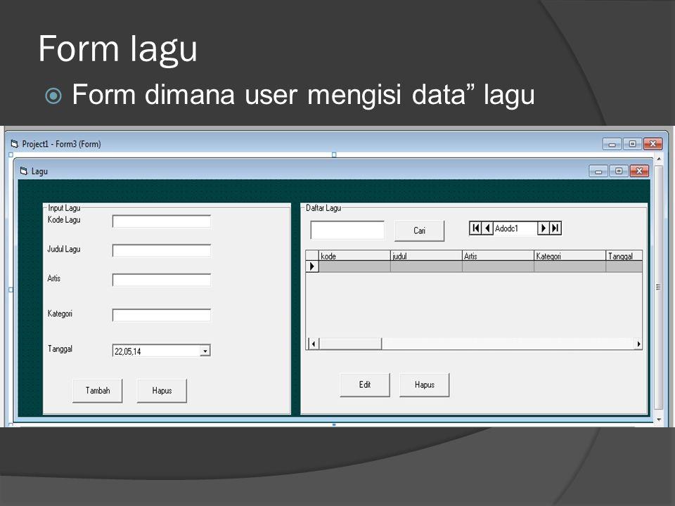 Form lagu  Form dimana user mengisi data lagu