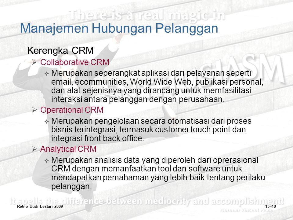 Retno Budi Lestari 200913–10 Manajemen Hubungan Pelanggan Kerengka CRM  Collaborative CRM  Merupakan seperangkat aplikasi dari pelayanan seperti ema