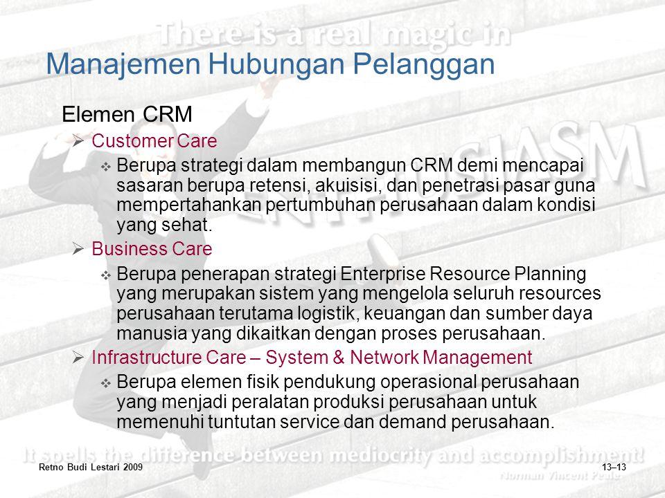 Retno Budi Lestari 200913–13 Manajemen Hubungan Pelanggan Elemen CRM  Customer Care  Berupa strategi dalam membangun CRM demi mencapai sasaran berup