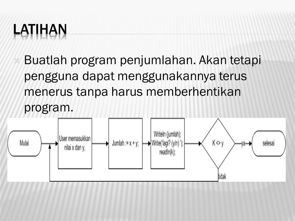  Buatlah program penjumlahan. Akan tetapi pengguna dapat menggunakannya terus menerus tanpa harus memberhentikan program.
