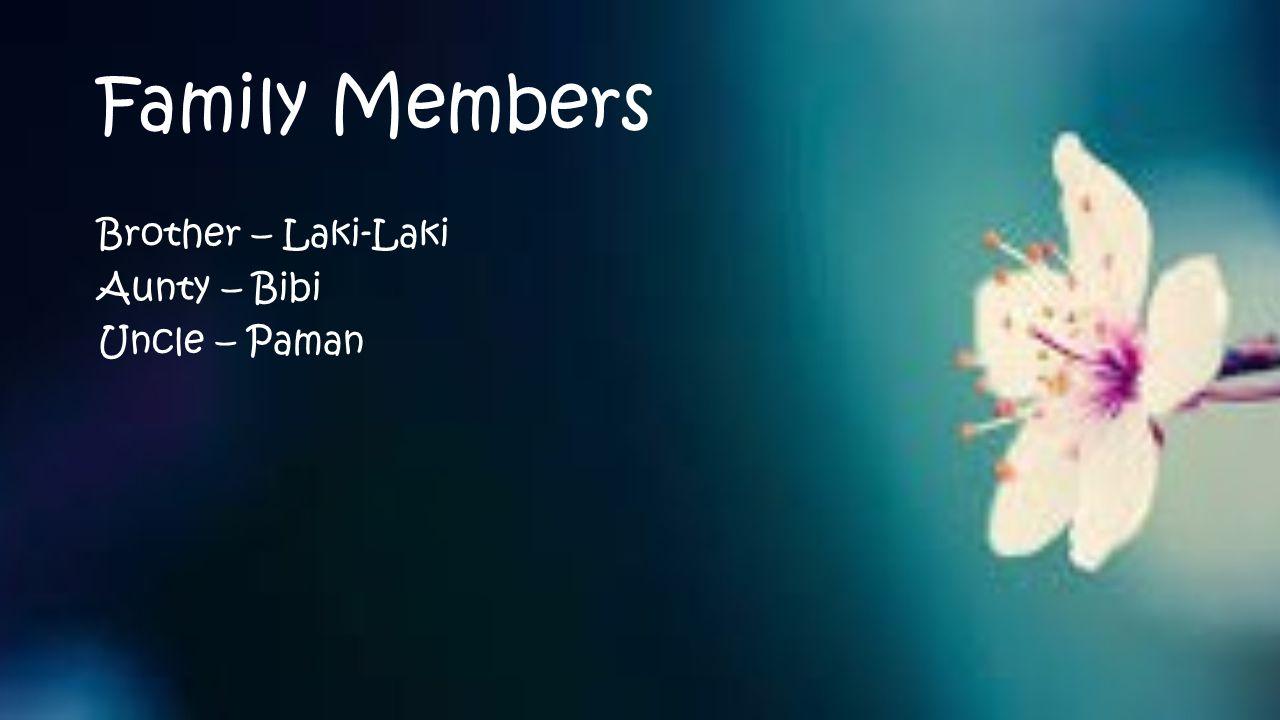 Family Members Brother – Laki-Laki Aunty – Bibi Uncle – Paman