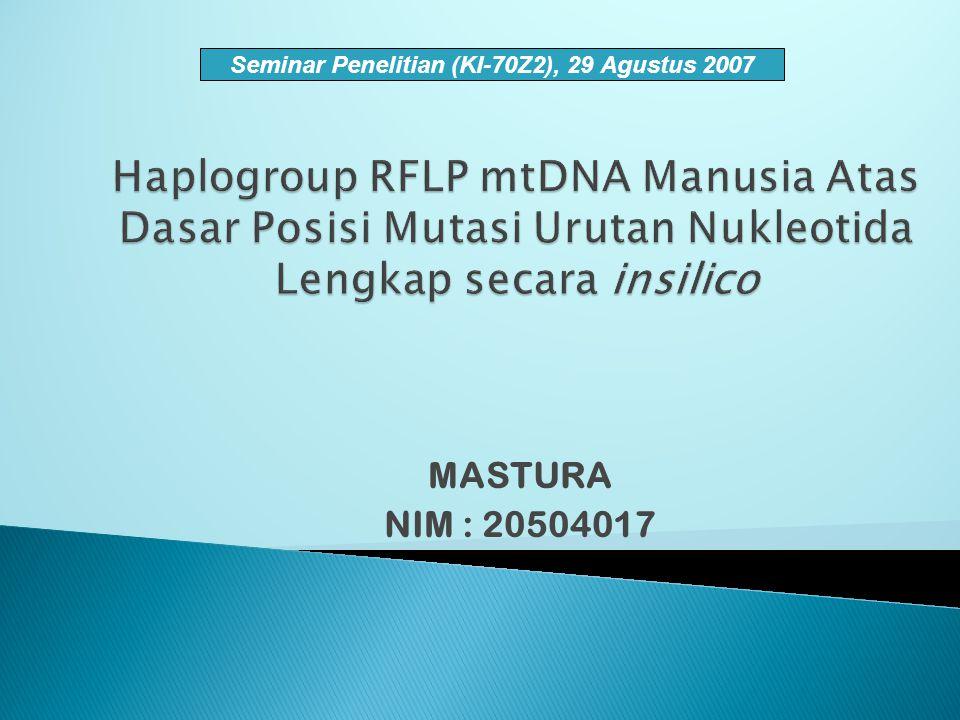 MASTURA NIM : 20504017 Seminar Penelitian (KI-70Z2), 29 Agustus 2007