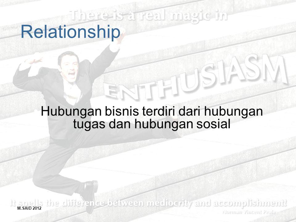 M.SAID 2012 Relationship Hubungan bisnis terdiri dari hubungan tugas dan hubungan sosial