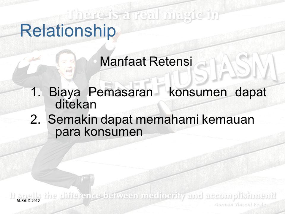 M.SAID 2012 Relationship Manfaat Retensi 1.1. Biaya Pemasaran konsumen dapat ditekan 2.2. Semakin dapat memahami kemauan para konsumen