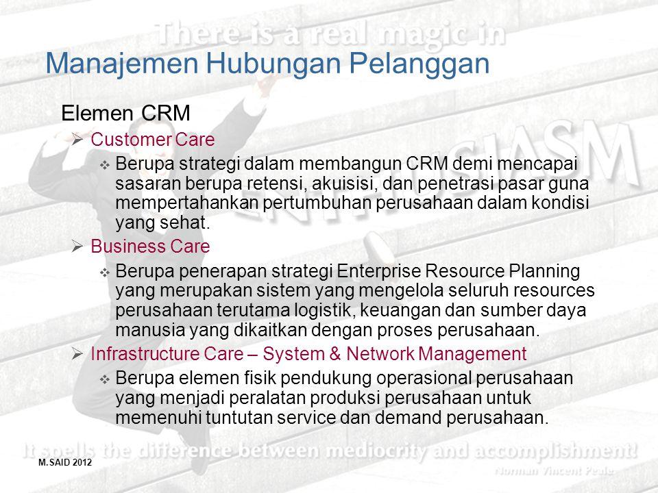 M.SAID 2012 Manajemen Hubungan Pelanggan Elemen CRM  Customer Care  Berupa strategi dalam membangun CRM demi mencapai sasaran berupa retensi, akuisi
