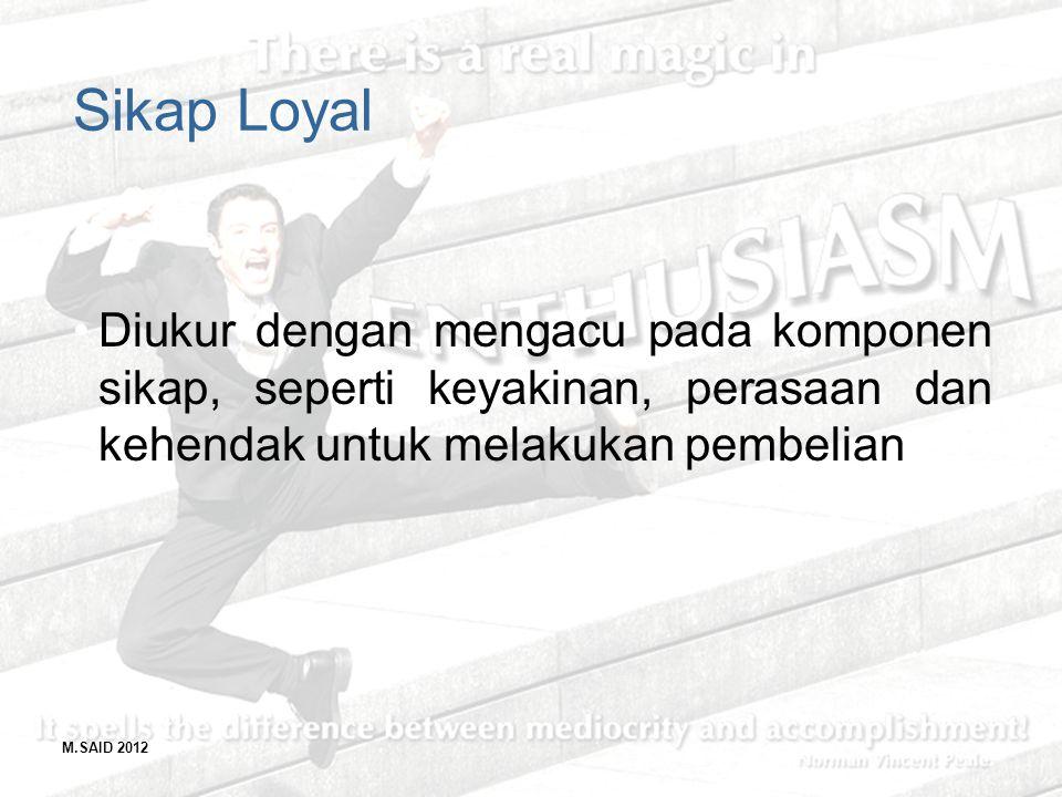 M.SAID 2012 Sikap Loyal Diukur dengan mengacu pada komponen sikap, seperti keyakinan, perasaan dan kehendak untuk melakukan pembelian