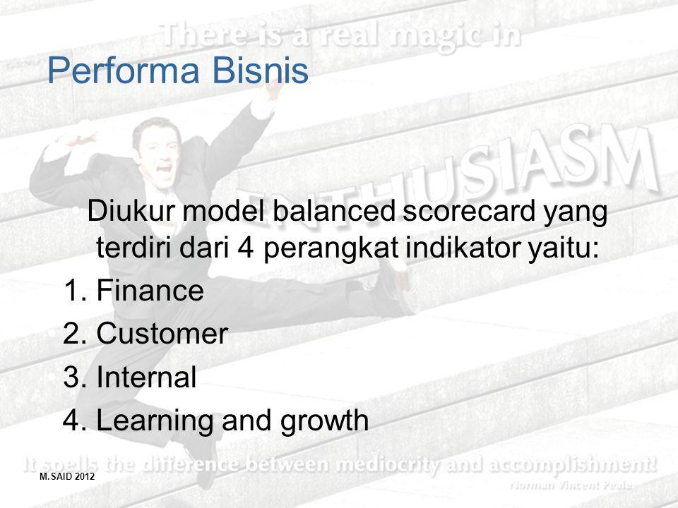 M.SAID 2012 Performa Bisnis Diukur model balanced scorecard yang terdiri dari 4 perangkat indikator yaitu: 1. Finance 2. Customer 3. Internal 4. Learn