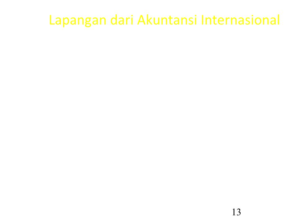13 Lapangan dari Akuntansi Internasional Dua bagian penting: –Descriptive/comparative accounting –Accounting dimensions of international transactions/