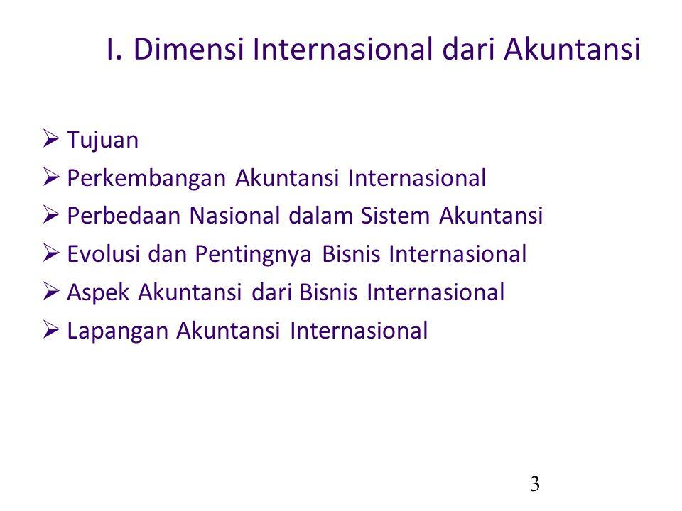 3 I. Dimensi Internasional dari Akuntansi  Tujuan  Perkembangan Akuntansi Internasional  Perbedaan Nasional dalam Sistem Akuntansi  Evolusi dan Pe
