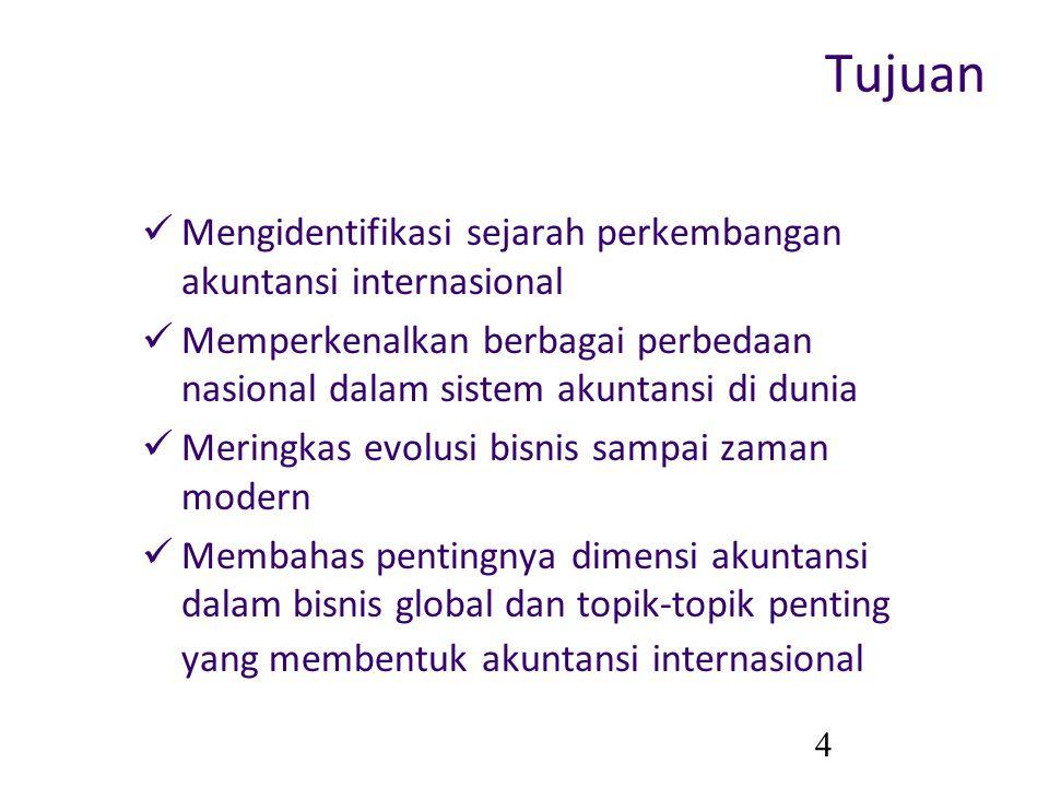 4 Tujuan Mengidentifikasi sejarah perkembangan akuntansi internasional Memperkenalkan berbagai perbedaan nasional dalam sistem akuntansi di dunia Meri