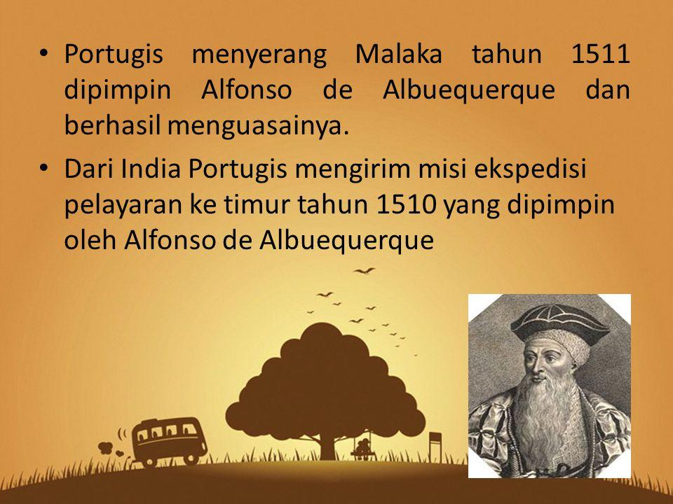 Portugis menyerang Malaka tahun 1511 dipimpin Alfonso de Albuequerque dan berhasil menguasainya.