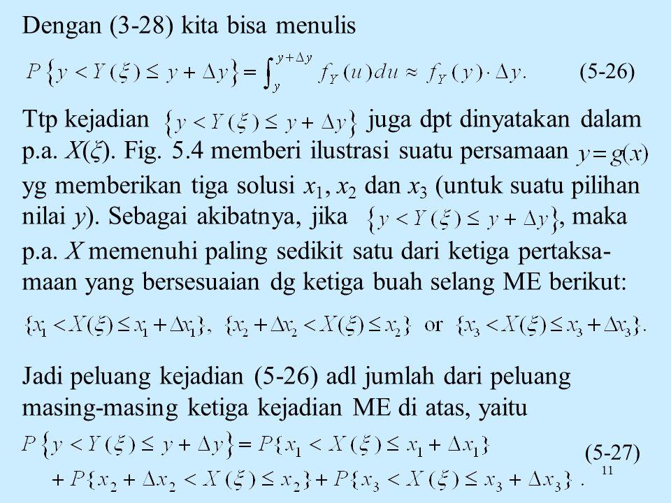 11 Dengan (3-28) kita bisa menulis Ttp kejadian juga dpt dinyatakan dalam p.a. X(ξ). Fig. 5.4 memberi ilustrasi suatu persamaan yg memberikan tiga sol