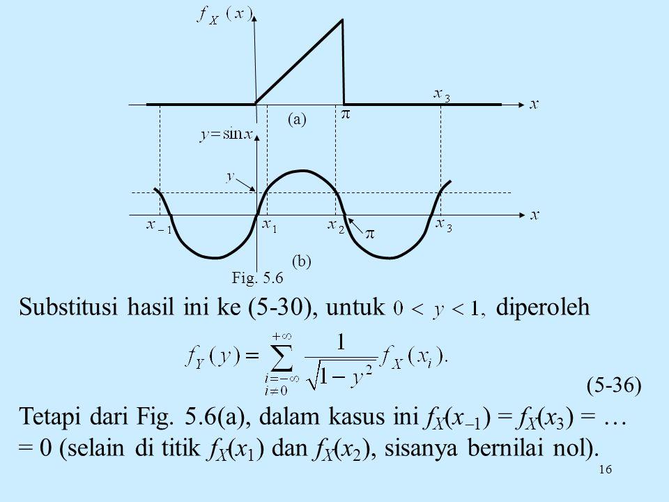 16 Substitusi hasil ini ke (5-30), untuk diperoleh Tetapi dari Fig. 5.6(a), dalam kasus ini f X (x  1 ) = f X (x 3 ) = … = 0 (selain di titik f X (x