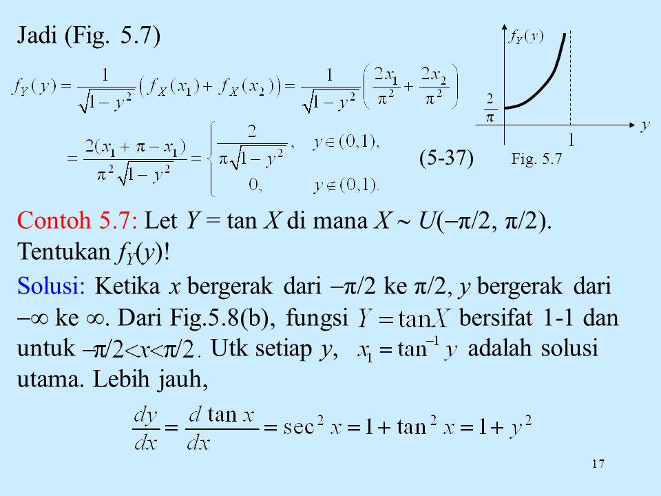 17 Jadi (Fig. 5.7) Contoh 5.7: Let Y = tan X di mana X  U(  π/2, π/2). Tentukan f Y (y)! Solusi: Ketika x bergerak dari  π/2 ke π/2, y bergerak dar