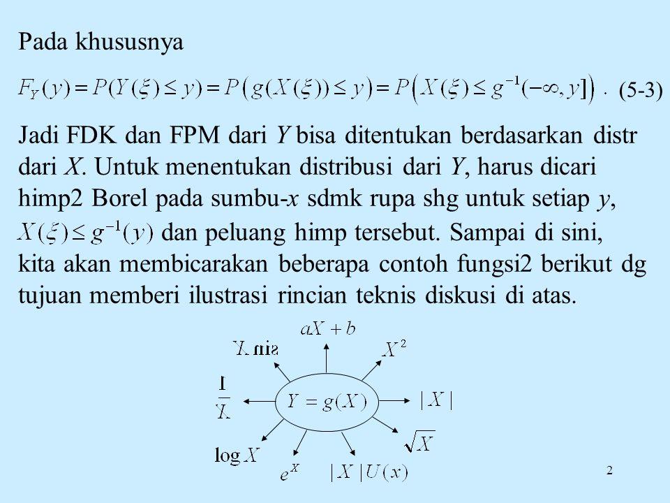 2 Pada khususnya Jadi FDK dan FPM dari Y bisa ditentukan berdasarkan distr dari X. Untuk menentukan distribusi dari Y, harus dicari himp2 Borel pada s