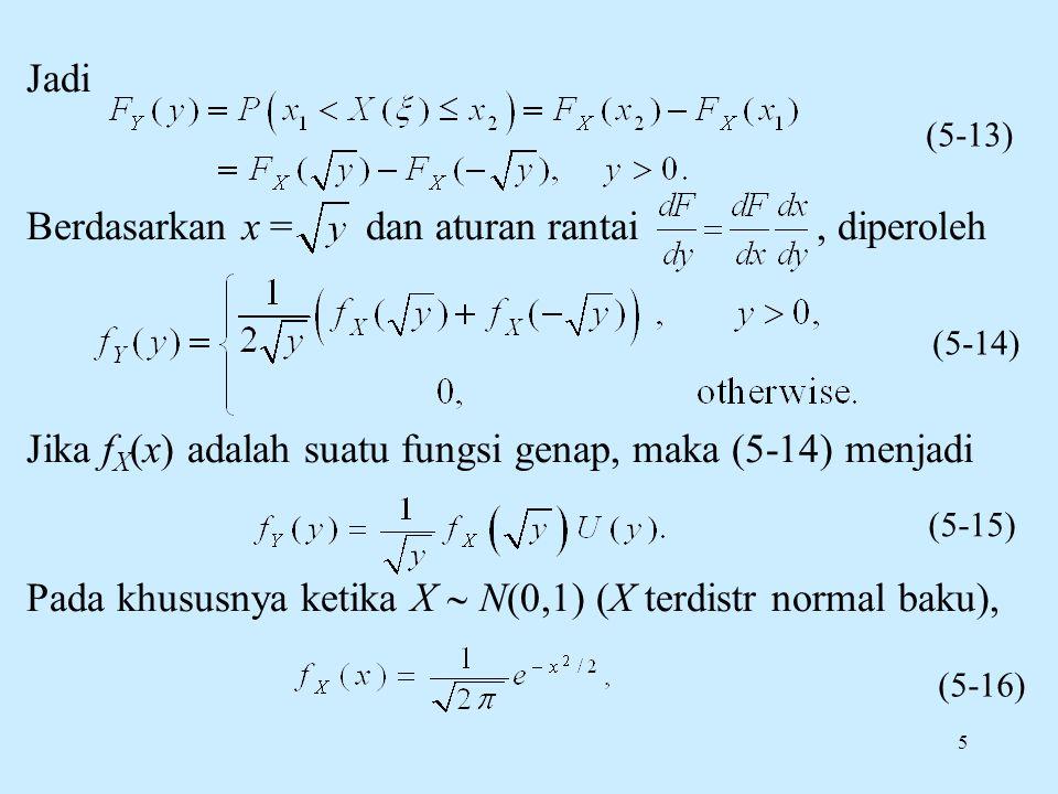 5 Jadi Berdasarkan x = dan aturan rantai, diperoleh Jika f X (x) adalah suatu fungsi genap, maka (5-14) menjadi Pada khususnya ketika X  N(0,1) (X terdistr normal baku), (5-14) (5-15) (5-16) (5-13)