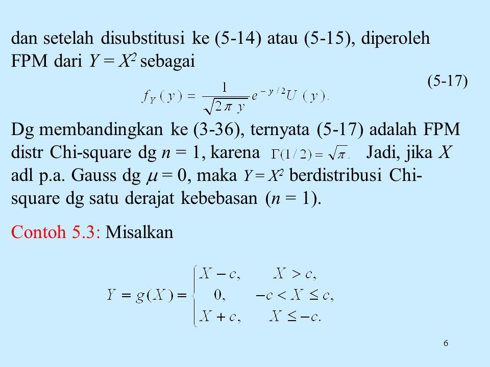 6 dan setelah disubstitusi ke (5-14) atau (5-15), diperoleh FPM dari Y = X 2 sebagai Dg membandingkan ke (3-36), ternyata (5-17) adalah FPM distr Chi-square dg n = 1, karena Jadi, jika X adl p.a.