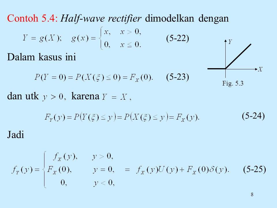 8 (5-22) Fig. 5.3 (5-23) (5-24) (5-25) Contoh 5.4: Half-wave rectifier dimodelkan dengan Dalam kasus ini dan utk karena Jadi