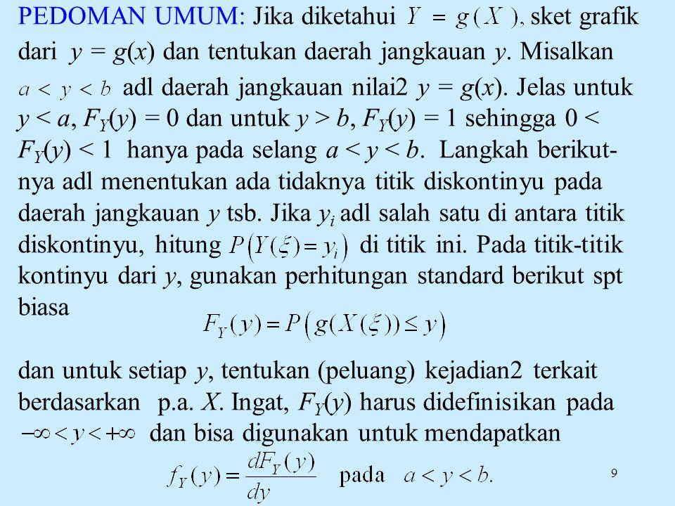 9 PEDOMAN UMUM: Jika diketahui sket grafik dari y = g(x) dan tentukan daerah jangkauan y. Misalkan adl daerah jangkauan nilai2 y = g(x). Jelas untuk y