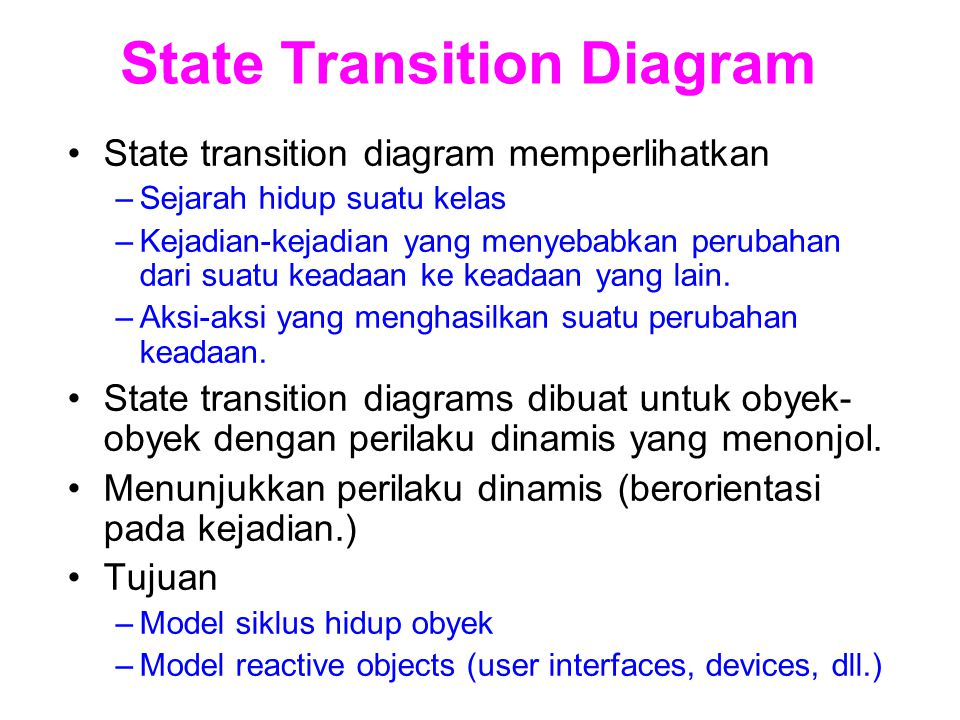 State Transition Diagram State transition diagram memperlihatkan –Sejarah hidup suatu kelas –Kejadian-kejadian yang menyebabkan perubahan dari suatu k