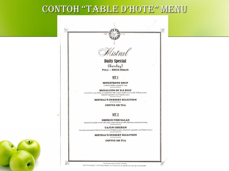 CONTOH A la carte menu