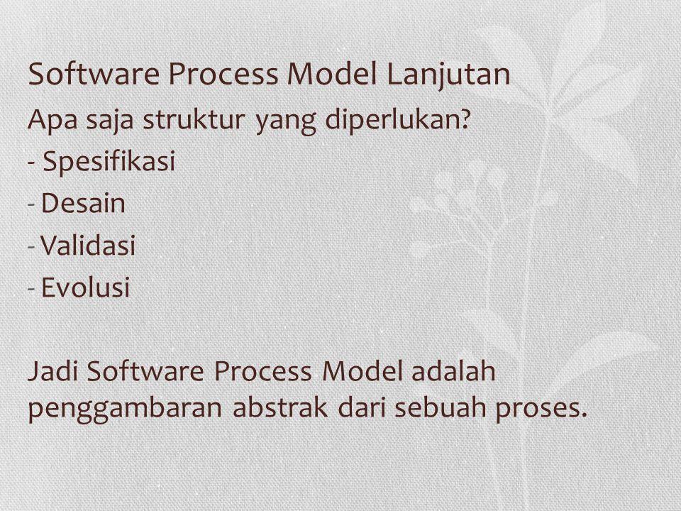 Software Process Model Lanjutan Apa saja struktur yang diperlukan.