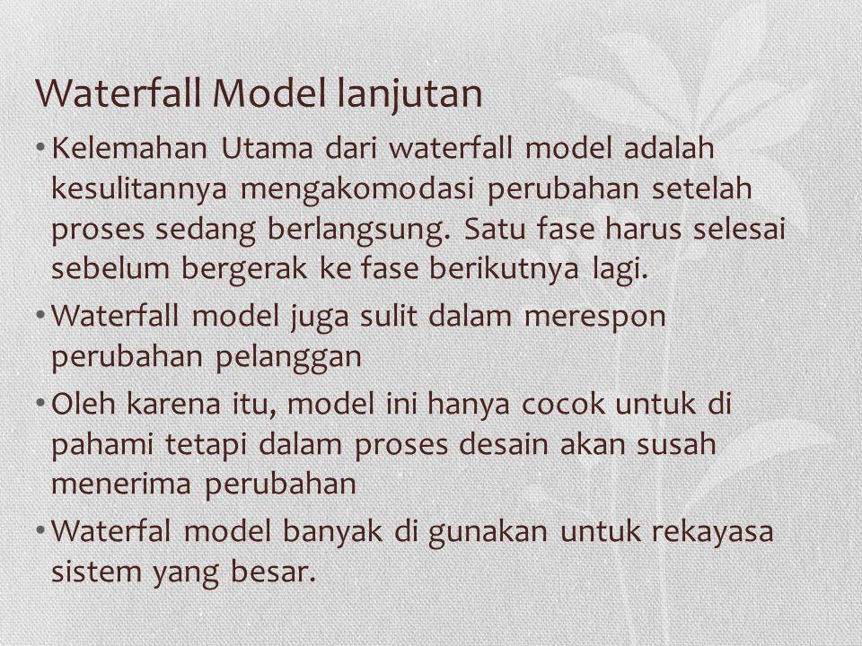 Waterfall Model lanjutan Kelemahan Utama dari waterfall model adalah kesulitannya mengakomodasi perubahan setelah proses sedang berlangsung.