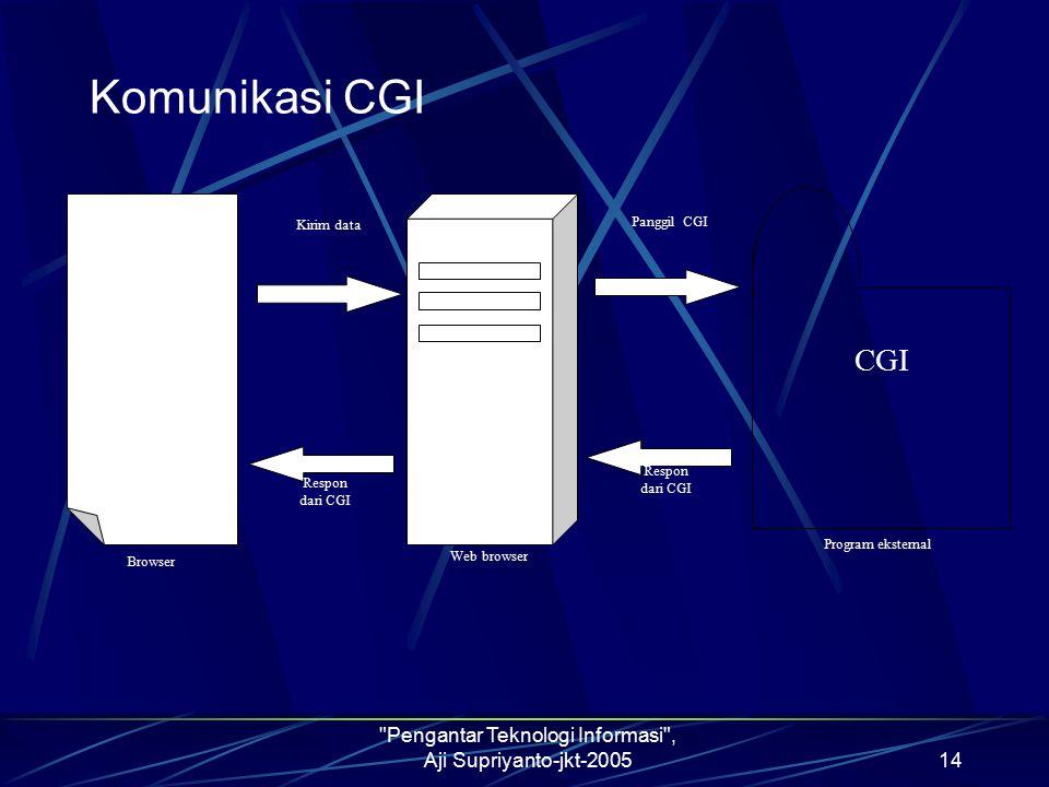 Pengantar Teknologi Informasi , Aji Supriyanto-jkt-200514 Komunikasi CGI  Kirim data Respon dari CGI Respon dari CGI Panggil CGI Browser Web browser Program eksternal CGI