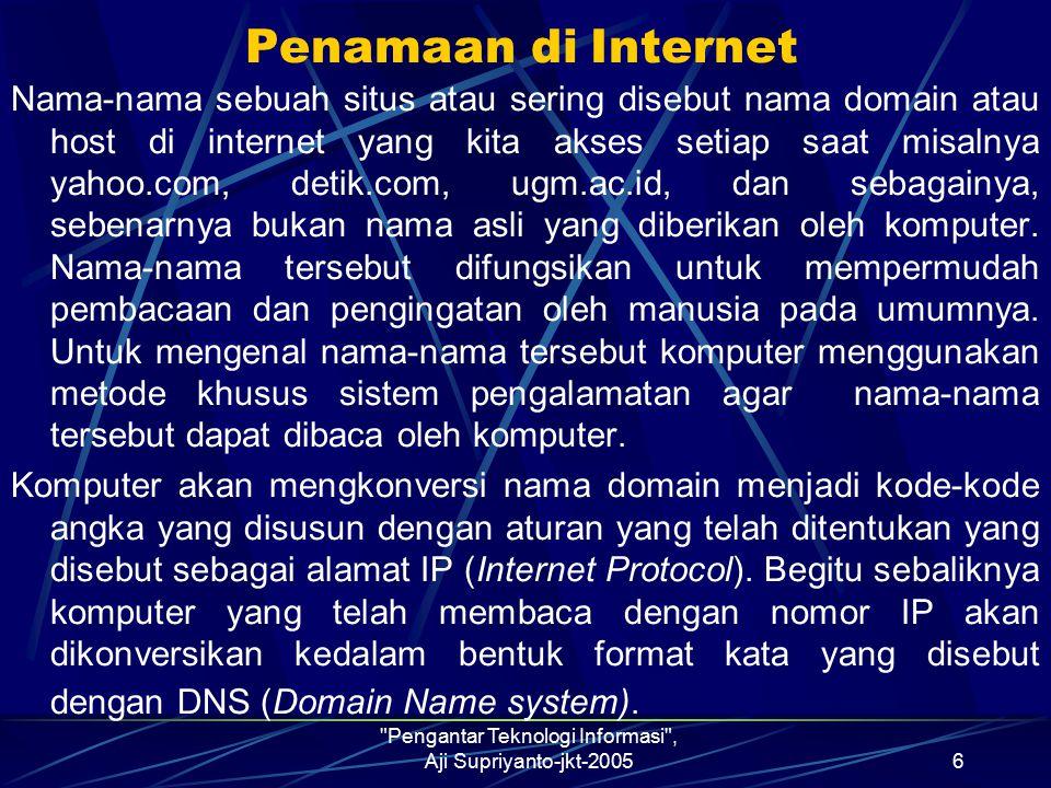 Pengantar Teknologi Informasi , Aji Supriyanto-jkt-20057 Bentuk umum pemberian nama menurut DNS adalah : nama_komputer.nama_subdomain.nama_top_domain Nama_komputer adalah nama komputer yang bersangkutan.