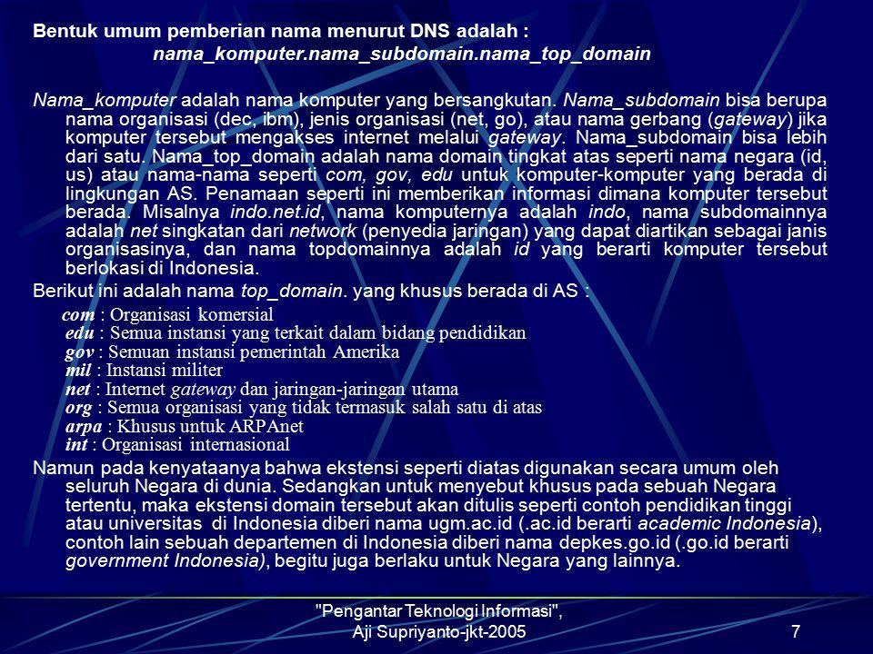 Pengantar Teknologi Informasi , Aji Supriyanto-jkt-20058 INSTALASI INTERNET Instalasi internet merupakan perlakukan atau tindakan bagaimana supaya komputer yang kita gunakan bisa terhubung dengan internet.