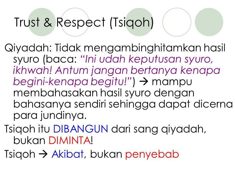 Trust & Respect (Tsiqoh) Qiyadah: Tidak mengambinghitamkan hasil syuro (baca: Ini udah keputusan syuro, ikhwah.