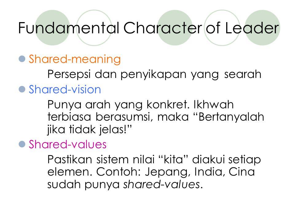 Fundamental Character of Leader Shared-meaning Persepsi dan penyikapan yang searah Shared-vision Punya arah yang konkret.