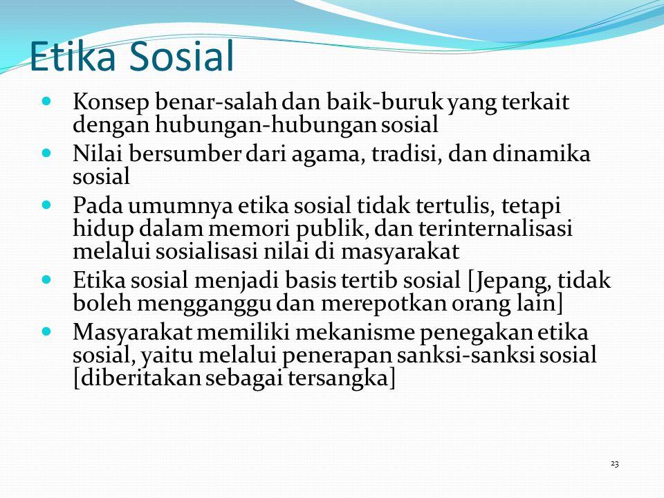 Etika Sosial Konsep benar-salah dan baik-buruk yang terkait dengan hubungan-hubungan sosial Nilai bersumber dari agama, tradisi, dan dinamika sosial P