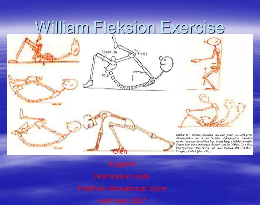 Pengertian William fleksion exercise: pd pasien dgn kondisi Low Back Pain yg disebabkan oleh : –Spasm otot: lumbo sakral, iliopsoas, hamstring, adduktor hip dan m.gluteus maksimus - Spasm akibat strain otot lumbo sakral setelah 4- 5 hari - Spondyloarthritis lumbo sakral yg mempengaruhi n.