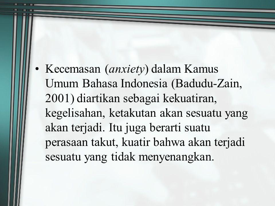 Kecemasan (anxiety) dalam Kamus Umum Bahasa Indonesia (Badudu-Zain, 2001) diartikan sebagai kekuatiran, kegelisahan, ketakutan akan sesuatu yang akan terjadi.
