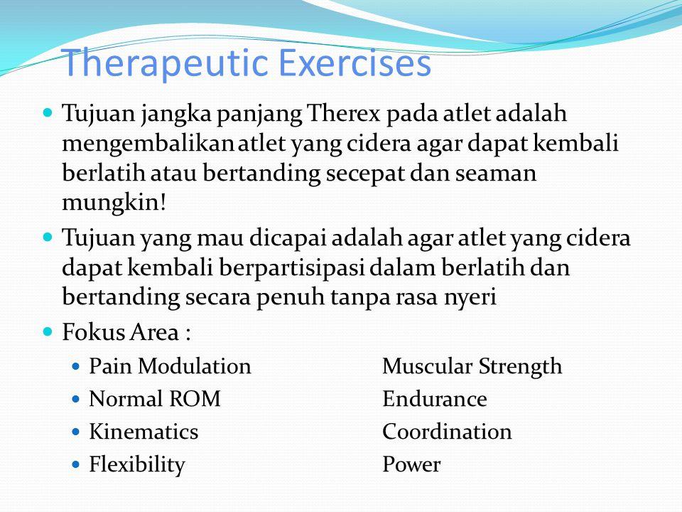 Therapeutic Exercises Tujuan jangka panjang Therex pada atlet adalah mengembalikan atlet yang cidera agar dapat kembali berlatih atau bertanding secepat dan seaman mungkin.