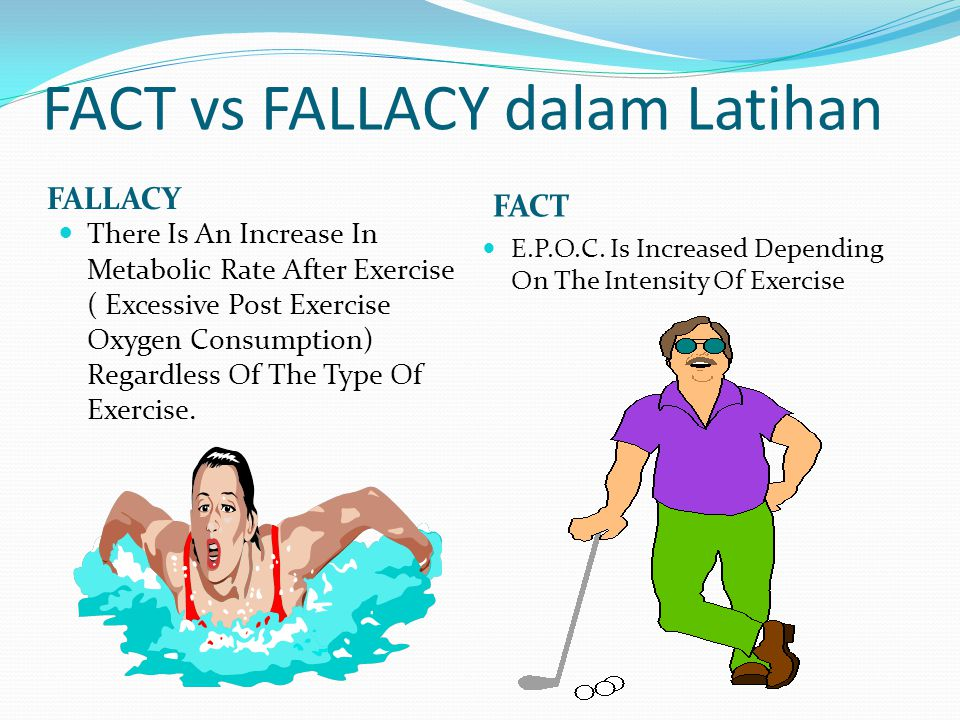 FACT vs FALLACY dalam Latihan FALLACY FACT There Is An Increase In Metabolic Rate After Exercise ( Excessive Post Exercise Oxygen Consumption) Regardl