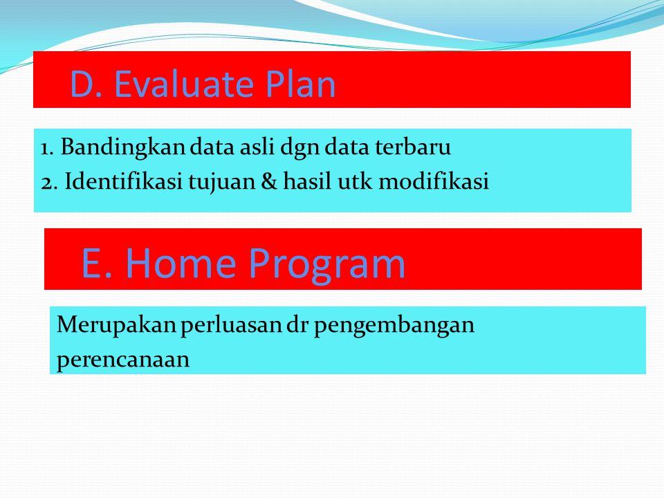 D.Evaluate Plan 1. Bandingkan data asli dgn data terbaru 2.