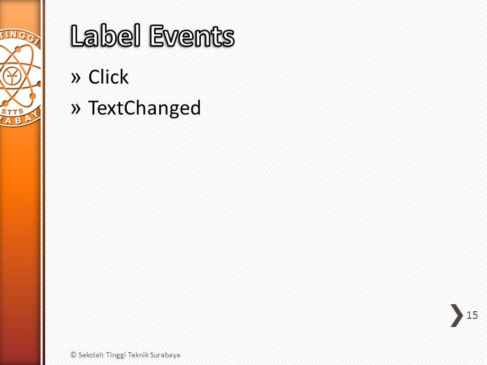» Click » TextChanged 15 © Sekolah Tinggi Teknik Surabaya
