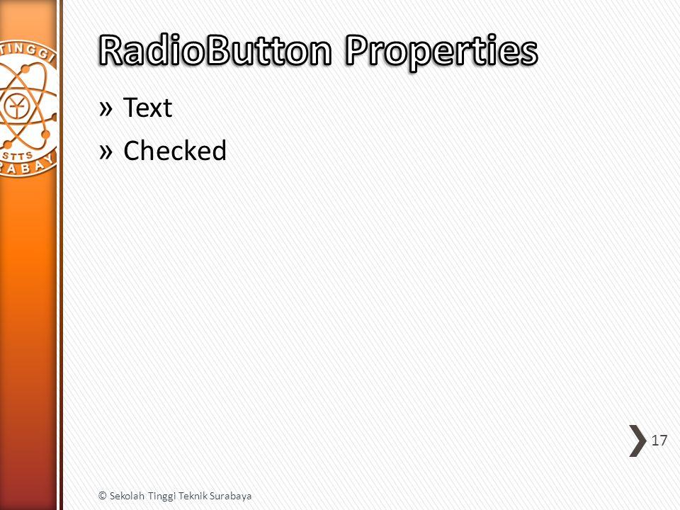 » Text » Checked 17 © Sekolah Tinggi Teknik Surabaya